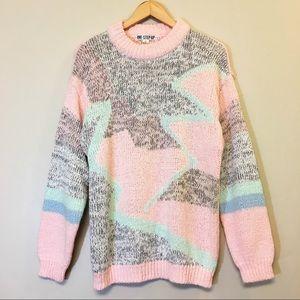 Vintage Oversized Geometric Knit Sweater